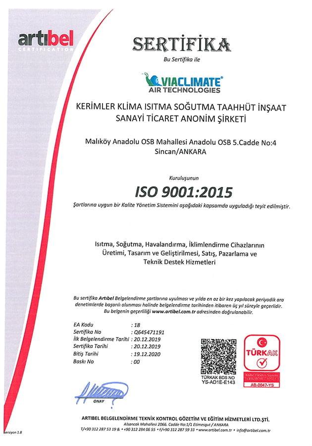 ISO 9001 2015 Belgesi