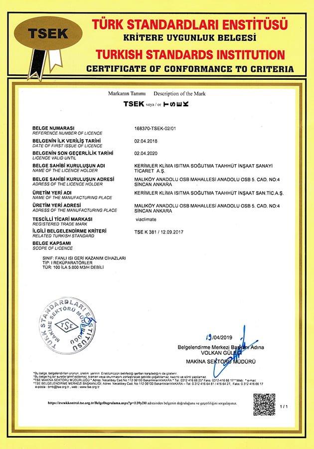Tavan Tipi Isı Geri Kazanım Cihazı TSE Kritere Uygunluk Belgesi